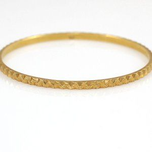 Solid 18K Yellow Gold Chevron Bangle Bracelet